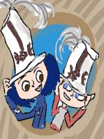Coraline and Norman white hats by danielaurista