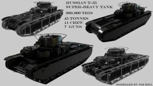 Russian T-35 High Poly final by mistermojo28