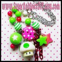 Mario 1up Mushroom Necklace by SugarAndSpiceDIY
