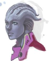 quick asari sketch by i-KEL