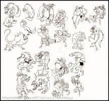 Old Drawing Scraps Characters/Monsters 2012-2013 by RatchetMario