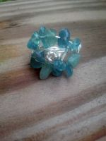 Aquamarine chipped Wire wrapped ring by WyckedDreamsDesigns