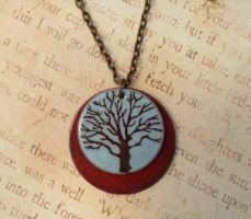 Tree of Life Double Enameled Necklace Blue Orange by FusedElegance