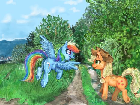 Rainbow dash and Apple Jack by GingerAdy