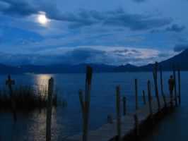 moon over the lake by juan-arita