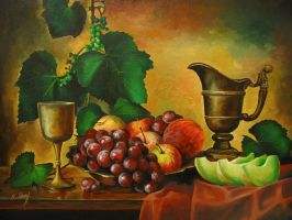 Still life with fruits and bronze crockery by Kaitana