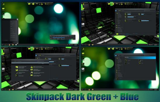Dark Green + Blue Skinpack For Win7/8/8.1 by TheDhruv