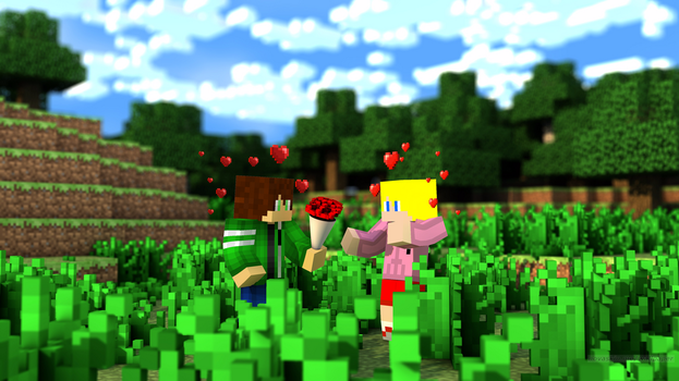 Minecraft Wallpaper: Alice X Ben Is Canon Okay by AliceTheGamer