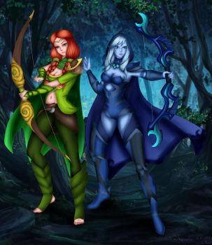 Drow Ranger and Windrunner by Shprote