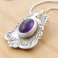 Spoon Pendant with Amethyst - Matte by metalsmitten