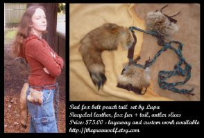 Red fox belt pouch tail by lupagreenwolf