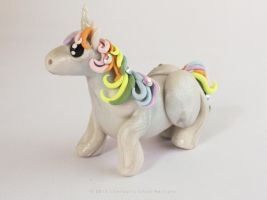 Little Unicorn, rainbow mane and tail by LitefootsLilBestiary