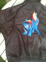 Rainbow Dash leather jacket - detail shot by vulpinedesigns
