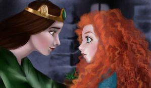 Art Sketch Exchange - Elinor and Merida by Eeddey