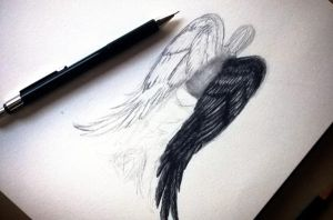 Christmas sketch - Angel by Schoerie