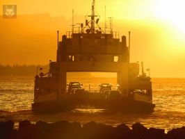 Ferry Leaving Bathed In Sunlight by wolfwings1