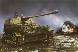 NASHORN tank destroyer - Alsace 1945 by derbz
