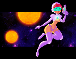 retro space pinup by junawashere