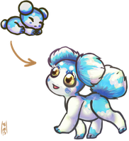 Clear Skies Blue Asteroid Puppy for Macmacaroni! by Jesseth