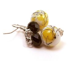 Yellow Black White Splatter Glass Bead Earrings by annjepsen