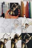 Loki sketch card step by step by Quelchii