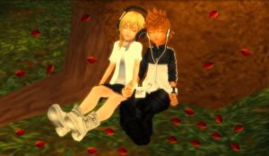 Roxas x Namine - Peace Among the Autumn Leaves by rev-rizeup