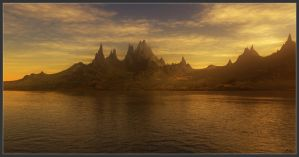 Mountain Lake Sunset by Mookiezoolook