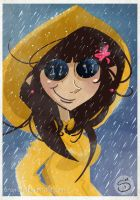 that awesome yellow rain mac by Araniel