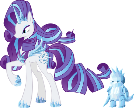 Crystal Queen (Evil Rarity) and his hypnosed Spike by CountWildrake