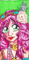 Bookmarker under commission: Steampunk girl by ItalianDream