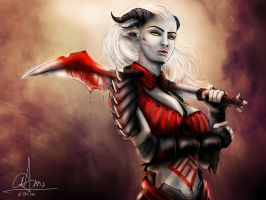 Dragon Age - Qunari woman by sasorizanoko