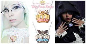 Acrylic Winged Crown Necklaces by MoogleGurl