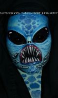 Blue Alien by sarahmitchellmakeup