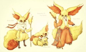Fennekin, Braixen and Delphox by Friendermen
