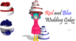 [MMD] Red and Blue Wedding Cakes DL by OniMau619