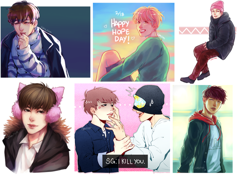 A bunch of bts drawings by Choctopi