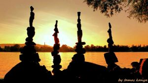 Stone balance in the sunset from Hungary by kanya by tom-tom1969