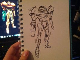 Rough line drawing of Samus Aran by joebentley10