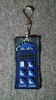 Beaded TARDIS Keychain by ravenarcana