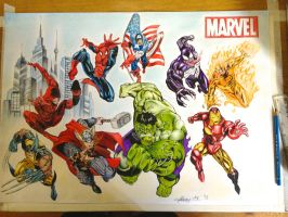 A2 Marvel Characters Drawing by HarryMichael