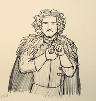 Jon Snow and a Kitten by LeDaLe14