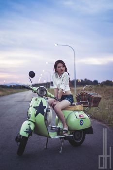 Vera on a Vespa by bullettothehead