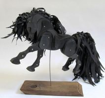 Midnight Black Articulated Horse by Ribena-Warrior