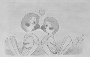 Two Sparrows by SammfeatBlueheart