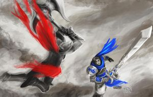 Garen versus Darius (blue and red) by KRETTLLI