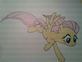 Fluttershy falling  (colored) by swedishpancaces