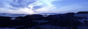 Panoramic Photo of Sunset on Arisaig Beach by ropa-to