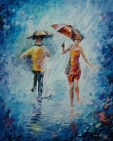 Torrential downpour by Leonid Afremov by Leonidafremov