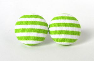 Green stripes earrings by KooKooCraft