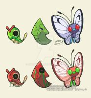 010. Caterpie 011. Metapod 012. Butterfree by SkySunnymQ
